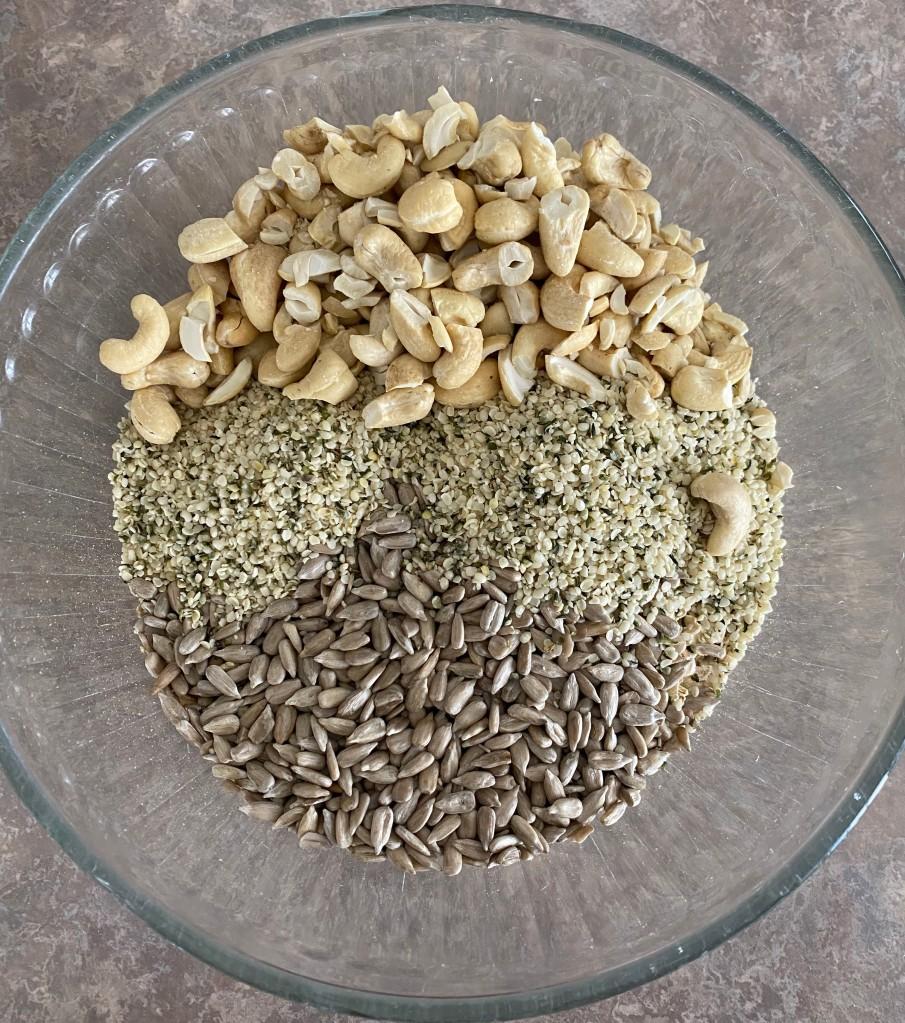 cashews and sunflower seeds